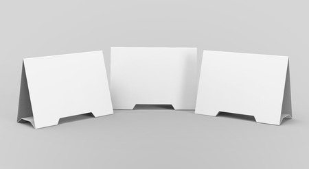 Blank table tent, 3d render table card set mockup for design uses, triangular paper card for business meeting or restaurant menu