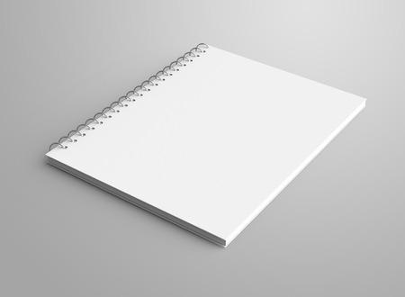 Maquette de bloc-notes vide, cahier à spirale de rendu 3D avec un espace vide pour la conception utilise, vue élevée