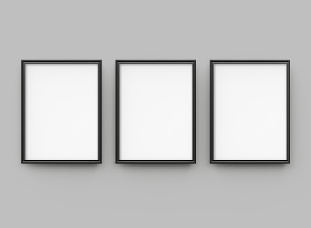 Black picture frame, 3d render thin frames collection with empty space for decorative uses