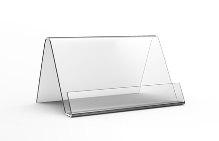 Acrylic stand mockup, 3d render transparent table stand, triangle shape