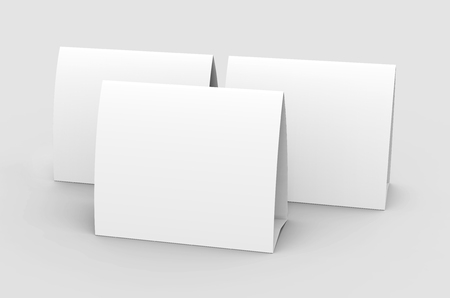 Blank paper tent template, white tent cards set with empty space in 3d render Stock Photo