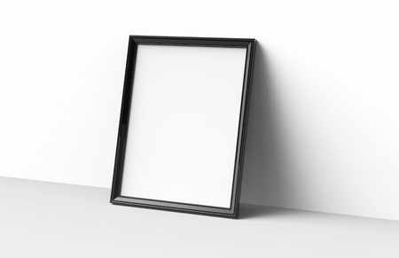 Blank picture frame mockup, 3d render black frame with empty space for design uses, leaning on the wall Foto de archivo