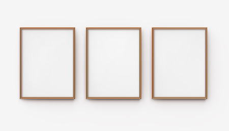 Wooden picture frame, 3d render blank thin frames collection with empty space for decorative uses