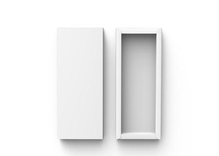 Caja de papel en blanco, maqueta de caja de regalo de rectángulo de render 3d con su tapa al lado, vista superior