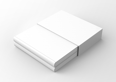Blank book with cardboard box cover, elevated view of book and case in 3d render Stock fotó