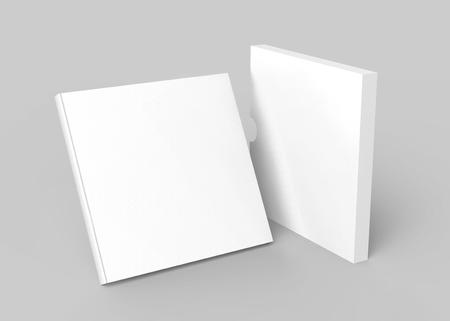 段ボール箱のカバー、3Dレンダリングのスタンドブックとケース付きの空白の本 写真素材