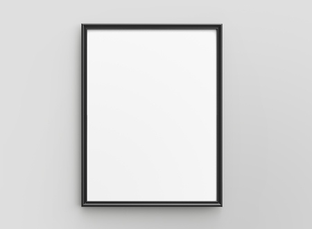 Black picture frame, 3d render thin frame with empty space for decorative uses