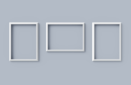 Blank picture frame mockup, 3d render hollow frames set on wall with empty space for design uses