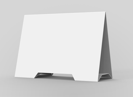 Blank table tent, 3d render table card mockup for design uses, triangular paper card for business meeting or restaurant menu Foto de archivo - 97269079