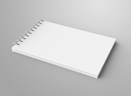 Blank notepad mockup, 3d render spiral notebook with empty space for design uses, elevated view Banco de Imagens - 97269174