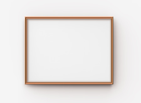 Wooden picture frame, 3d render blank thin frame with empty space for decorative uses 版權商用圖片