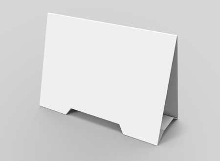 Blank table tent, 3d render table card mockup for design uses, triangular paper card for business meeting or restaurant menu Foto de archivo - 97269474
