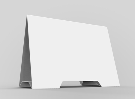 Blank table tent, 3d render table card mockup for design uses, triangular paper card for business meeting or restaurant menu Stock Photo