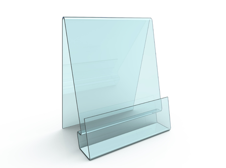 Acrylic holder mockup, 3d render transparent table rack in light blue Banco de Imagens