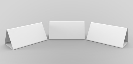 Blank table tent, 3d render table card set mockup for design uses, triangular paper card for business meeting or restaurant menu Stock Photo