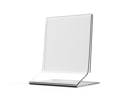 Acrylic stand mockup, 3d render transparent table stand for restaurant menu or product sheets uses Foto de archivo
