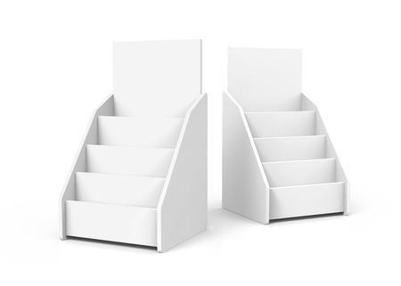 Cardboard tabletop rack, 3d render white stand set for brochures or sheets Stock fotó