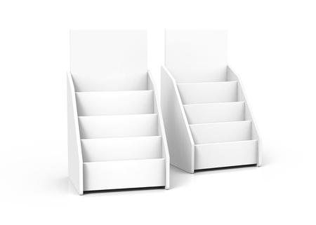 Cardboard tabletop rack, 3d render white stand set for brochures or sheets Foto de archivo