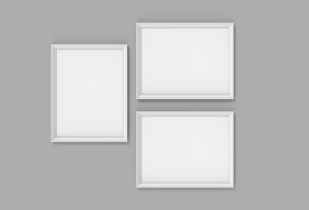 Blank picture frame mockup, 3d render white frames set on gray wall with empty space for design uses