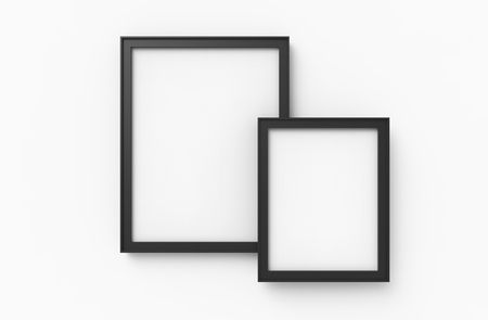 Blank picture frame mockup, 3d render black frames set on wall with empty space for design uses, white background Zdjęcie Seryjne