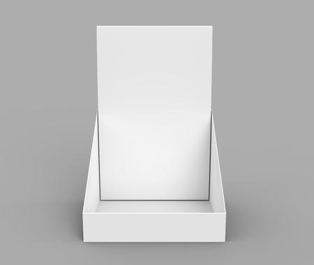 Paper holder mockup, blank 3d render desktop stand for brochure placement