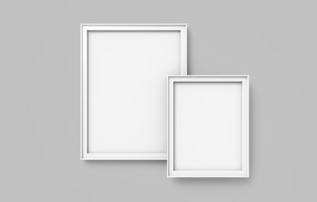 Blank picture frame mockup, 3d render frames set on wall with empty space for design uses, gray background