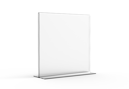 Acrylic stand mockup, 3d render transparent table stand for restaurant menu or product sheets uses Banque d'images