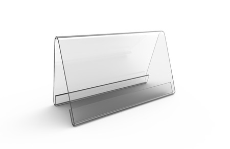 Display stand or acrylic table tent, 3d render transparent stand