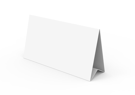 Blank paper tent template, white tent card with empty space in 3d render