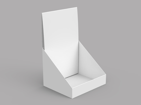 Paper holder mockup, blank 3d render desktop stand for brochure placement