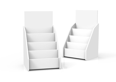 Cardboard tabletop rack, 3d render white stand set for brochures or sheets Foto de archivo