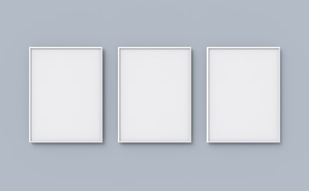 Blank picture frame mockup, 3d render frames set on wall with empty space for design uses