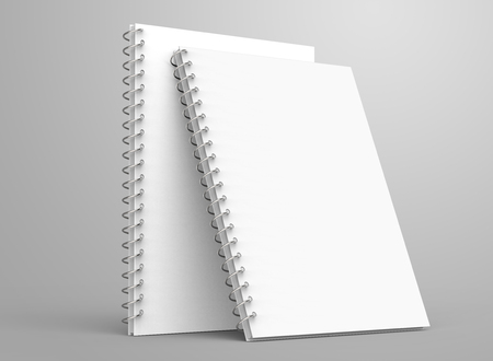 Blank notepad mockup, 3d render stand spiral notebooks set with empty space for design uses Banco de Imagens
