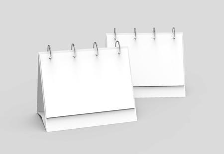 Blank desk calendar, 3d render calendar mockup set with empty space for design uses