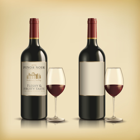 Set of red wine bottles with wine glasses