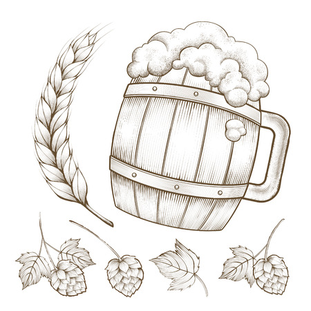 Illustration of a beer barrel with wheat and hops in engraving style Vectores