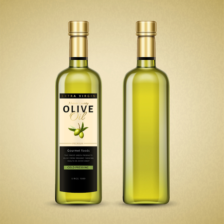 Olive oil package design with front and back illustration of the bottle