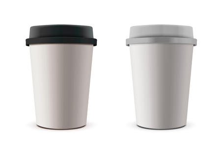 Two paper cup illustrations with black and white cover Ilustração