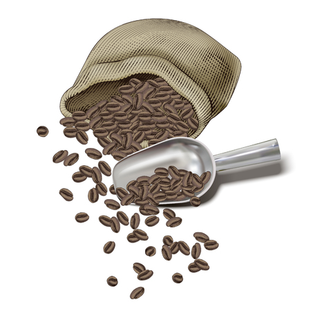 Illustration of spilled coffee beans in jute bag with a coffee shovel