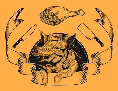 肉、ナイフ、リボンを使った笑顔の豚のイラスト  イラスト・ベクター素材