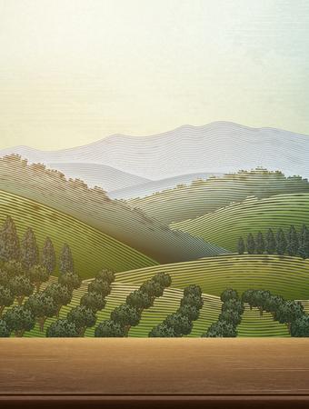 Boomgaardscène met een groen veldlandschap Stockfoto - 98400456