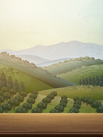 Orchard scene with a green field landscape Ilustrace