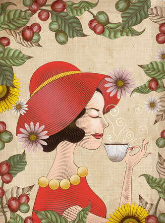 Lady in red dress and hat drinking from a cup with leaves and coffee cherries frame