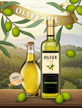 Olive oil bottles with olives and an orchard background scene Illustration