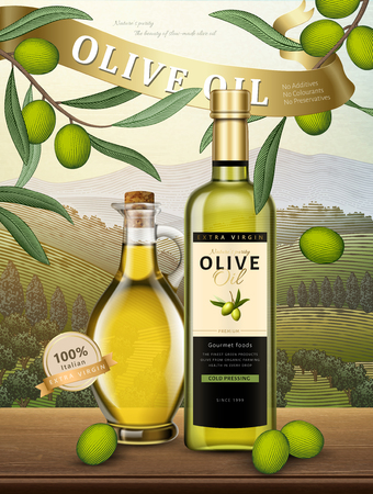 Olive oil bottles with olives and an orchard background scene Stock Illustratie