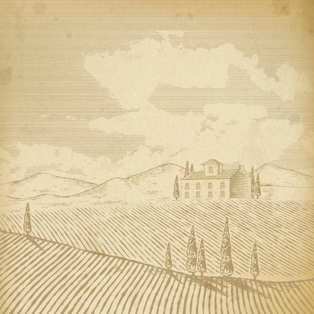 Scenery of a field and a house with trees  イラスト・ベクター素材