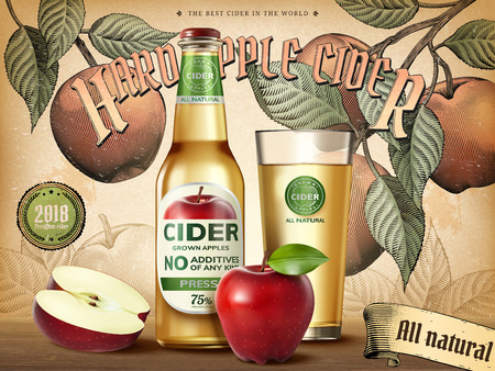 Hard apple cider template with apples, a bottle and glass Banco de Imagens - 98400468