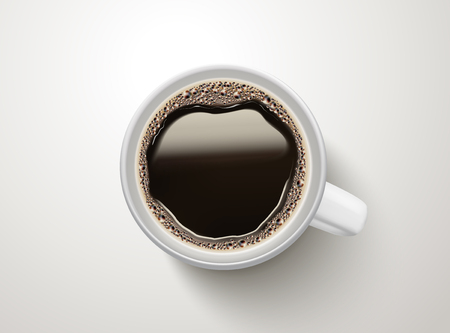 Top view of a cup of black coffee illustration