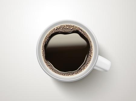 Widok z góry na filiżankę czarnej kawy ilustracja