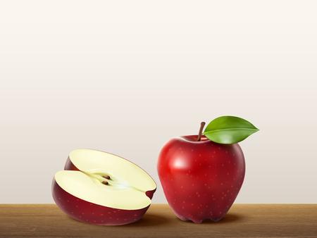 컷의 그림과 전체 빨간 사과 일러스트